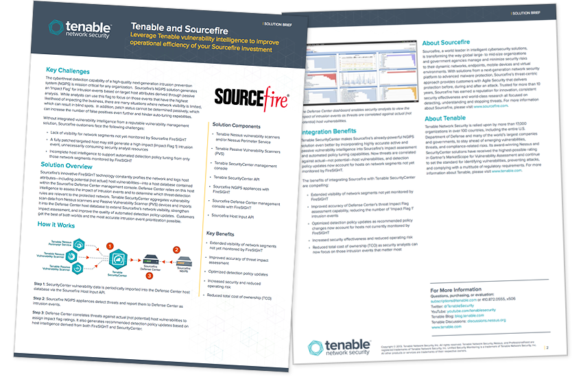 Presentation image for Tenable-Sourcefire Solution Brief