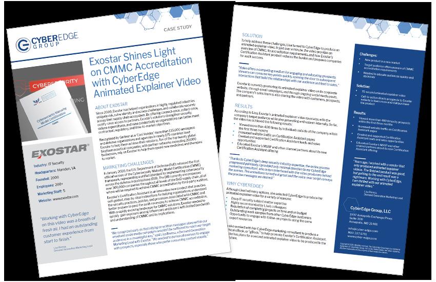 Presentation image for CyberEdge Case Study -- Exostar Explainer Video